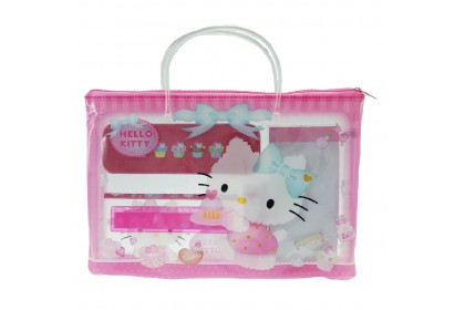 HELLO KITTY STATIONERY SET WITH TRANSPARENT DOCUMENT BAG